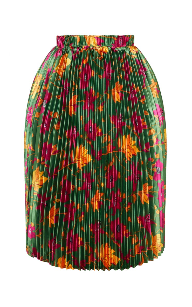 Plus Emerald Green Floral Print Pleated Midi Skirt 3