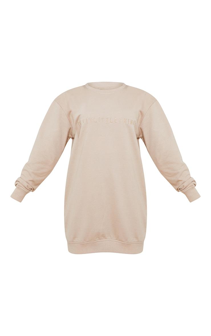 PRETTYLITTLETHING Petite Stone Slogan Sweatshirt Dress 5