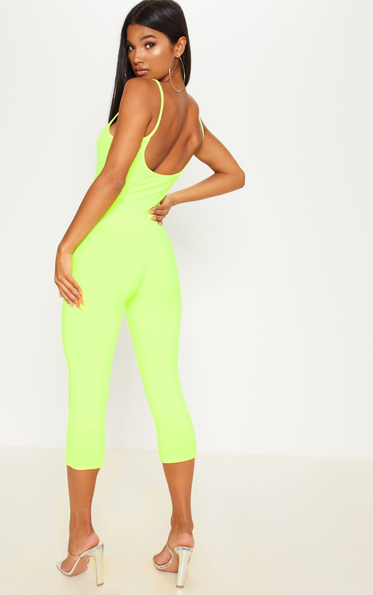 Neon Yellow Strappy Unitard 1