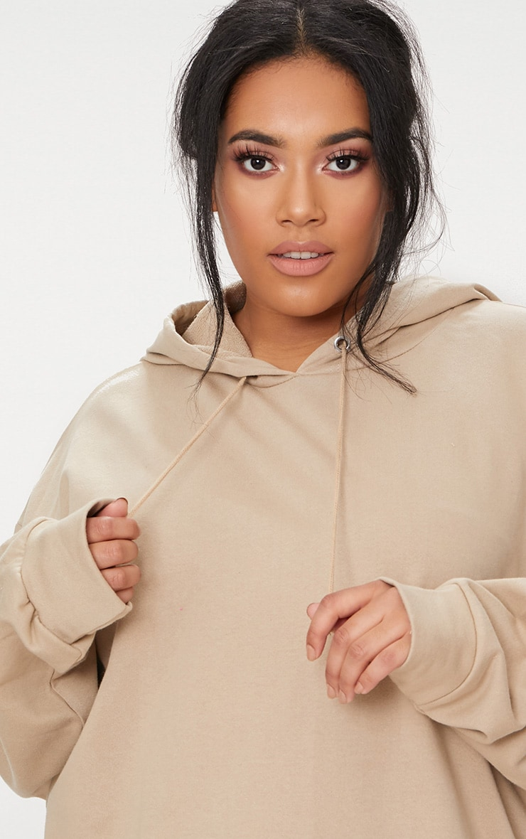 Plus Taupe Oversized Hoodie 5