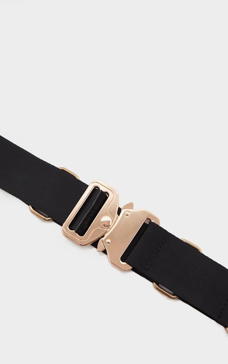 Black Ribbon Ring Detail Gold Buckle Tape Belt 2
