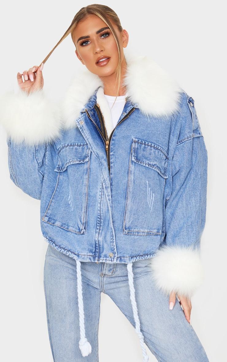 Blue Faux Fur Trim Denim Jacket  Prettylittlething Usa