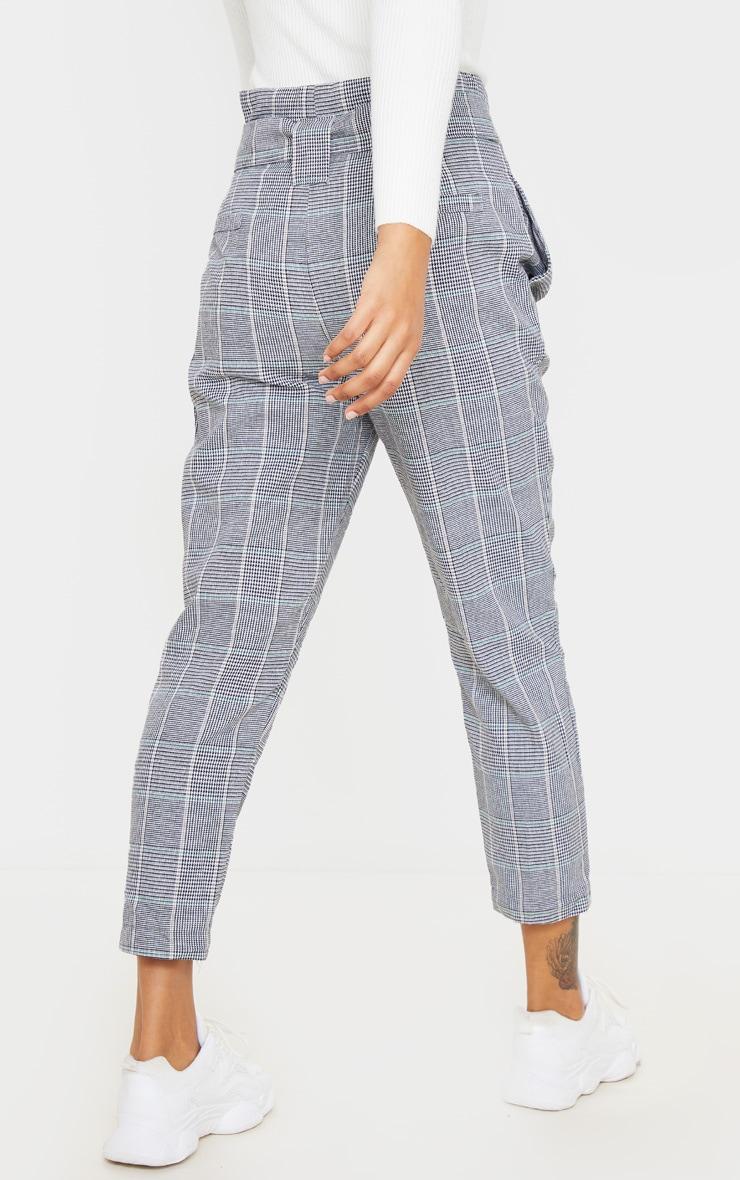 Grey Check Paper Bag Woven Pants 4