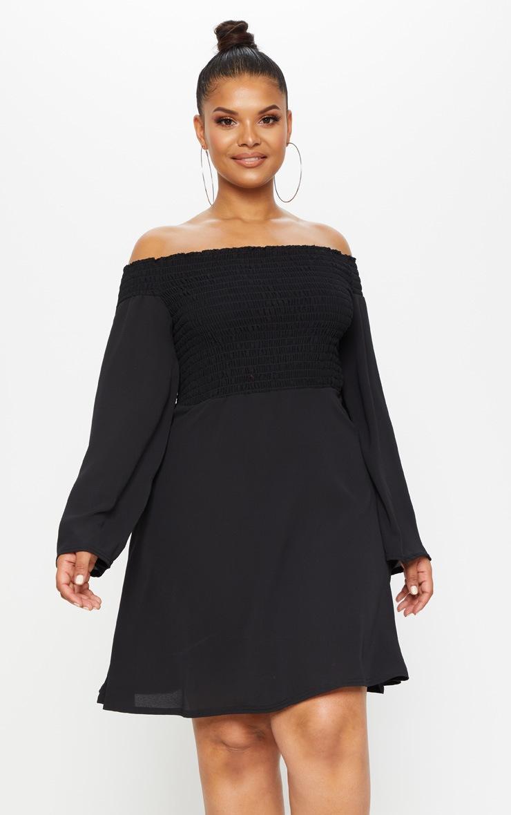 Plus Black Shirred Bardot Swing Dress 4