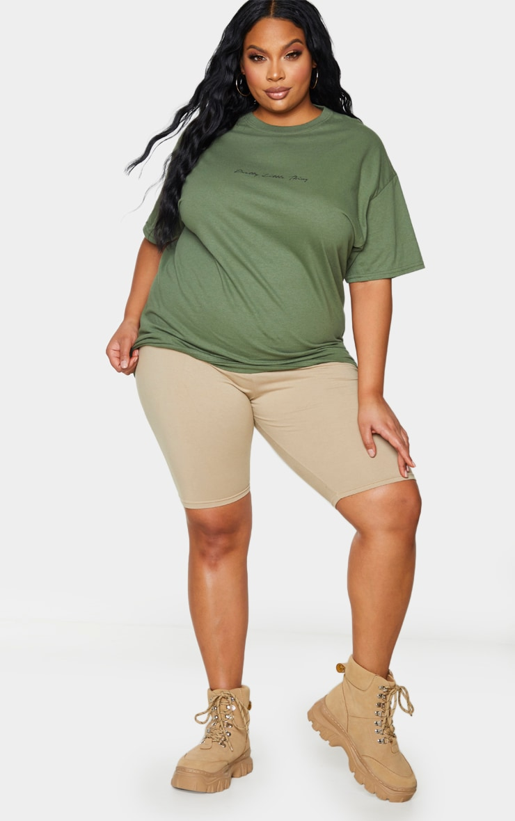 PRETTYLITTLETHING Plus Khaki Slogan Oversized T Shirt 3