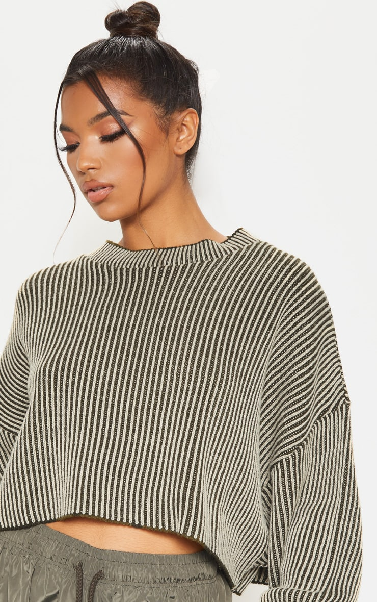 Stone Two Tone Knitted Batwing Jumper 5