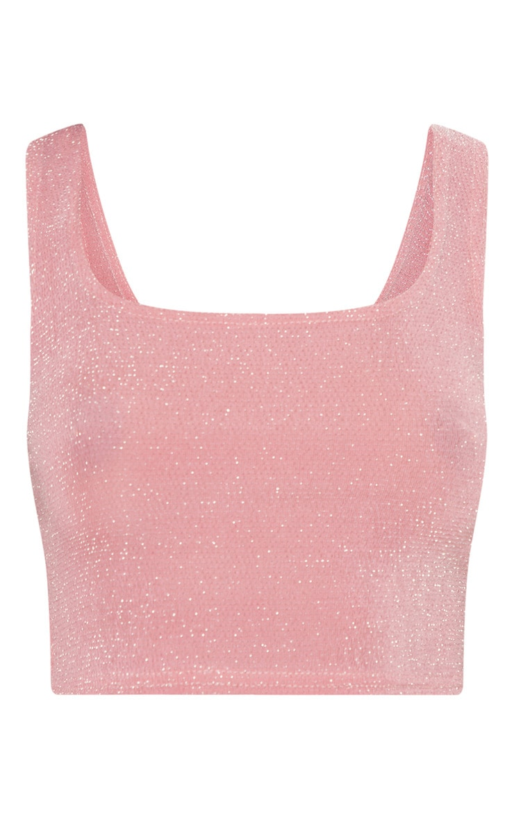 Light Pink Textured Glitter Crop Top 3
