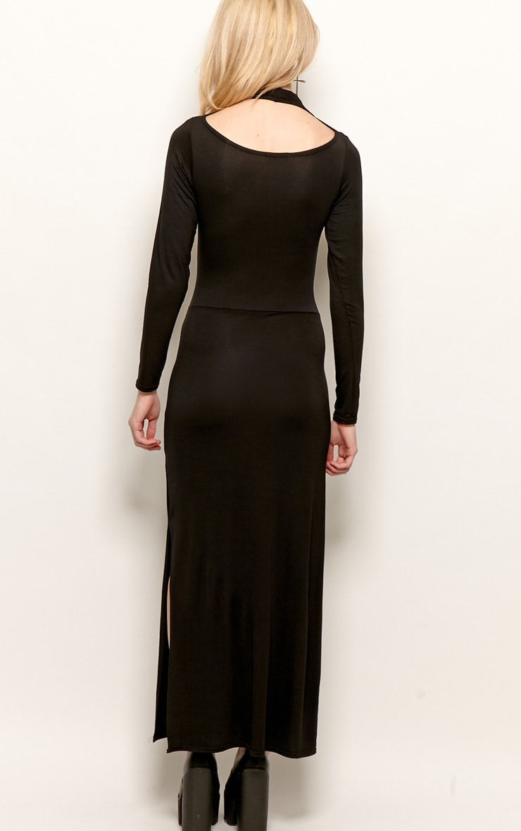 Saskia Black Long Sleeve Cut Out Maxi Dress 2