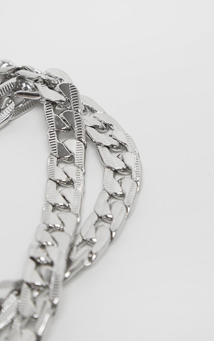 Silver Double Chain Choker 4