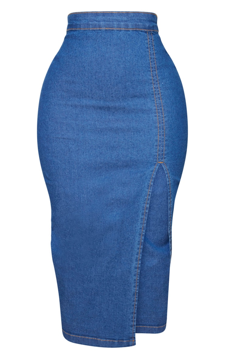 Shape Mid Blue Wash Denim Split Front Midi Skirt 5