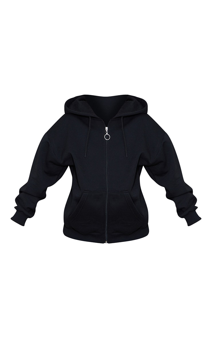Petite Black Extreme Oversized Pocket Front Zip Through Hoodie 5