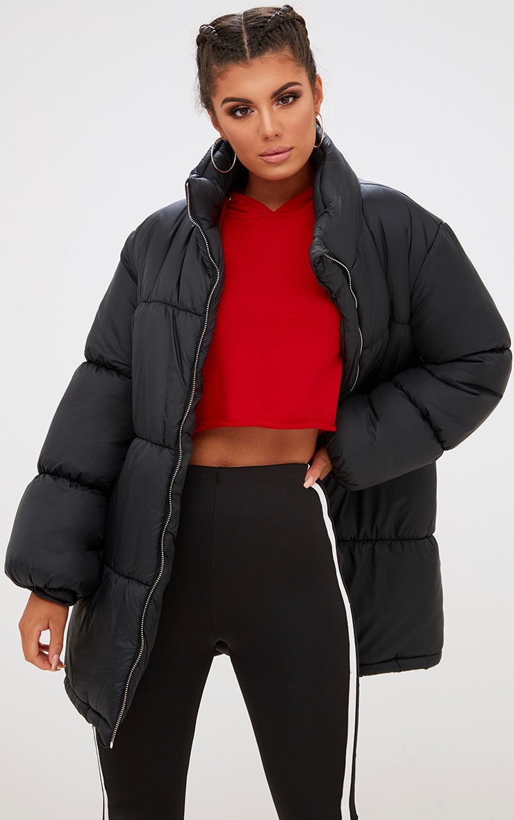Black Ring Pull Longline Puffer Jacket 4