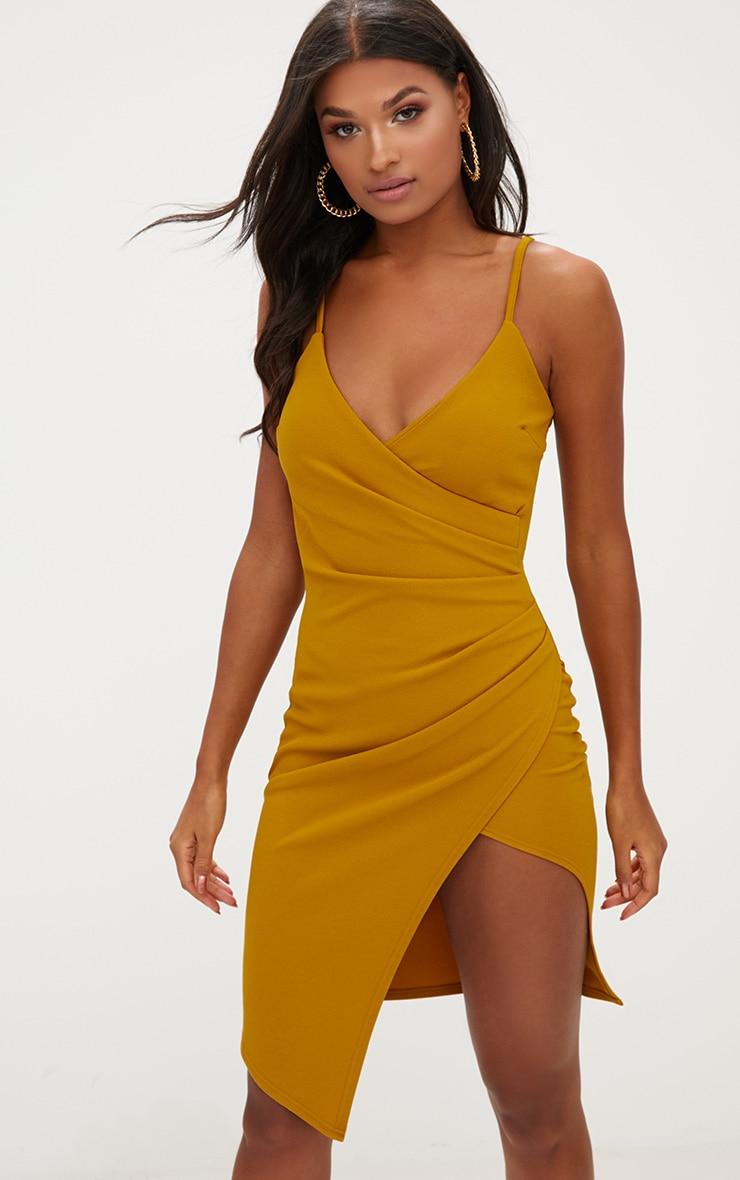 Mustard Wrap Front Midi Dress  1