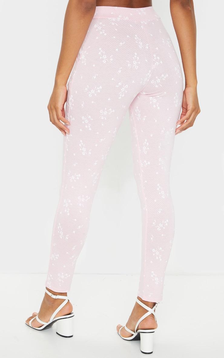 Pink Floral Printed Skinny Pants 3