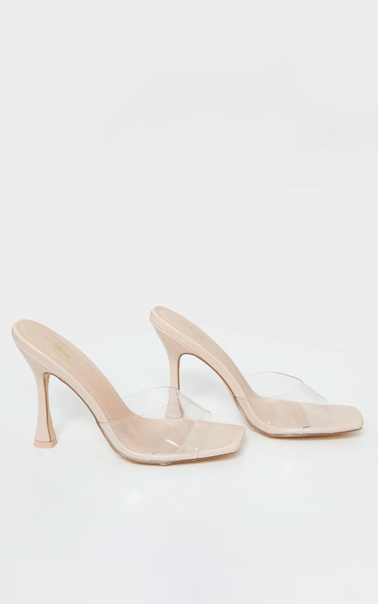 Nude Square Toe Clear Mules 3