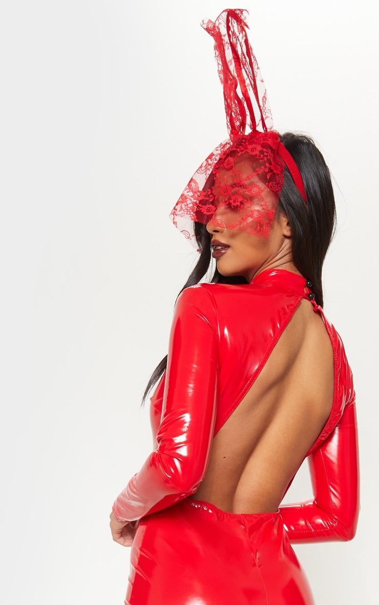 Petite Red Backless Vinyl Long Sleeve Jumpsuit 5