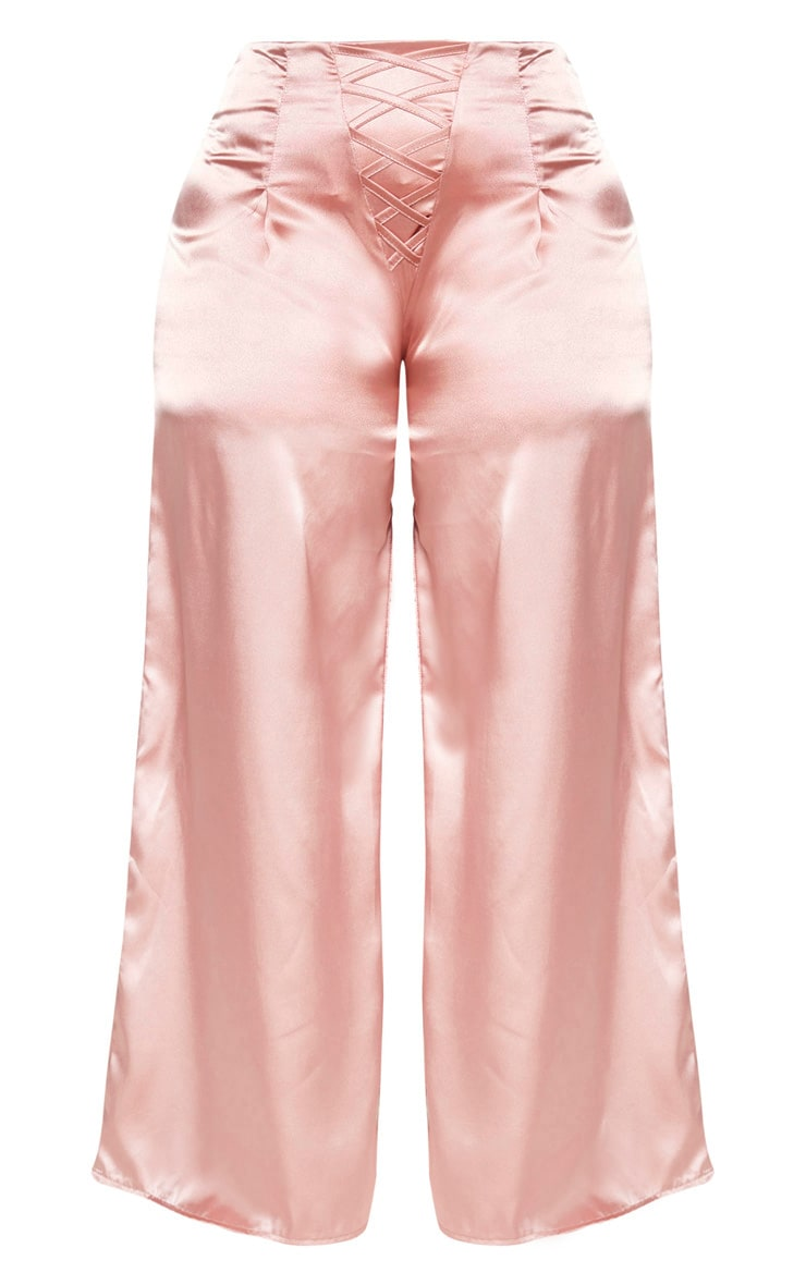 Plus Dusty Pink Satin Lace Detail Wide Leg Trouser 3