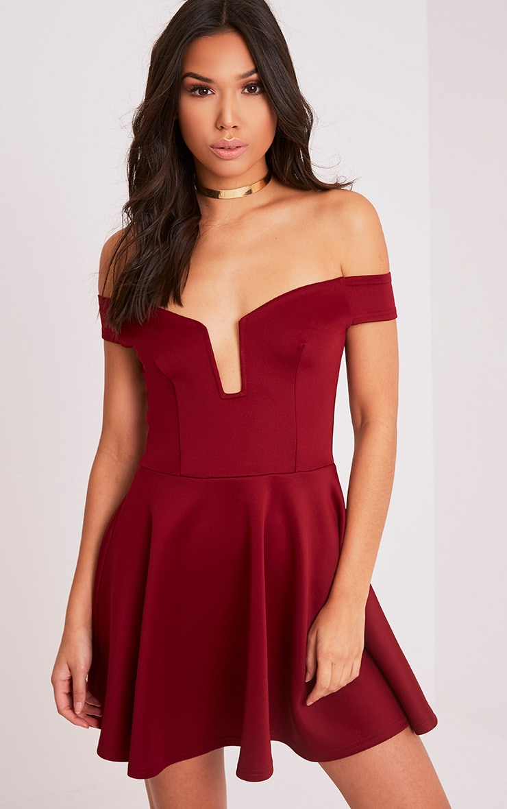 Mariah Burgundy Plunge Bardot Skater Dress 1