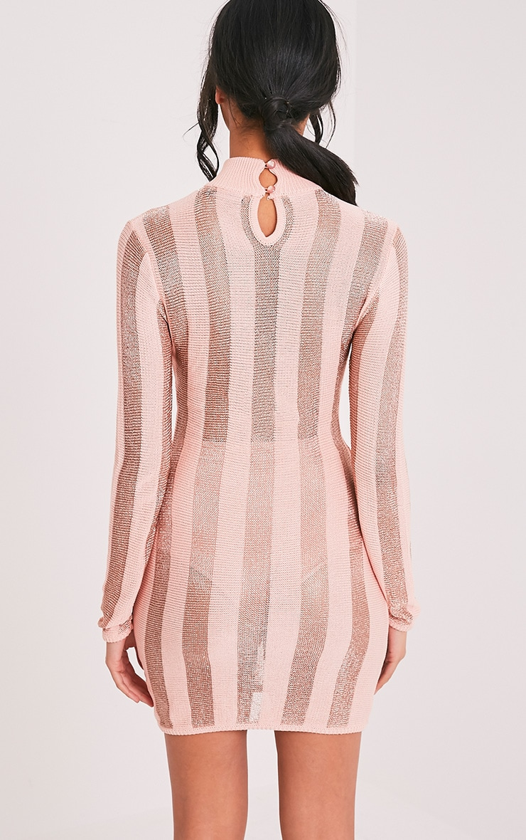 Amias Blush Metallic Knitted Mini Dress 2
