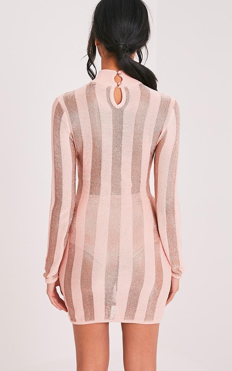 Amias robe mini rose pâle métallisé à rayures 2