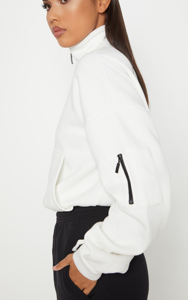 95daded78 Cream Oversized Zip Front Sweater