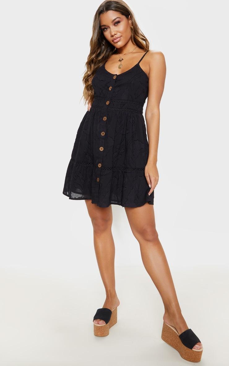 Black Wooden Button Front Cami Dress 1