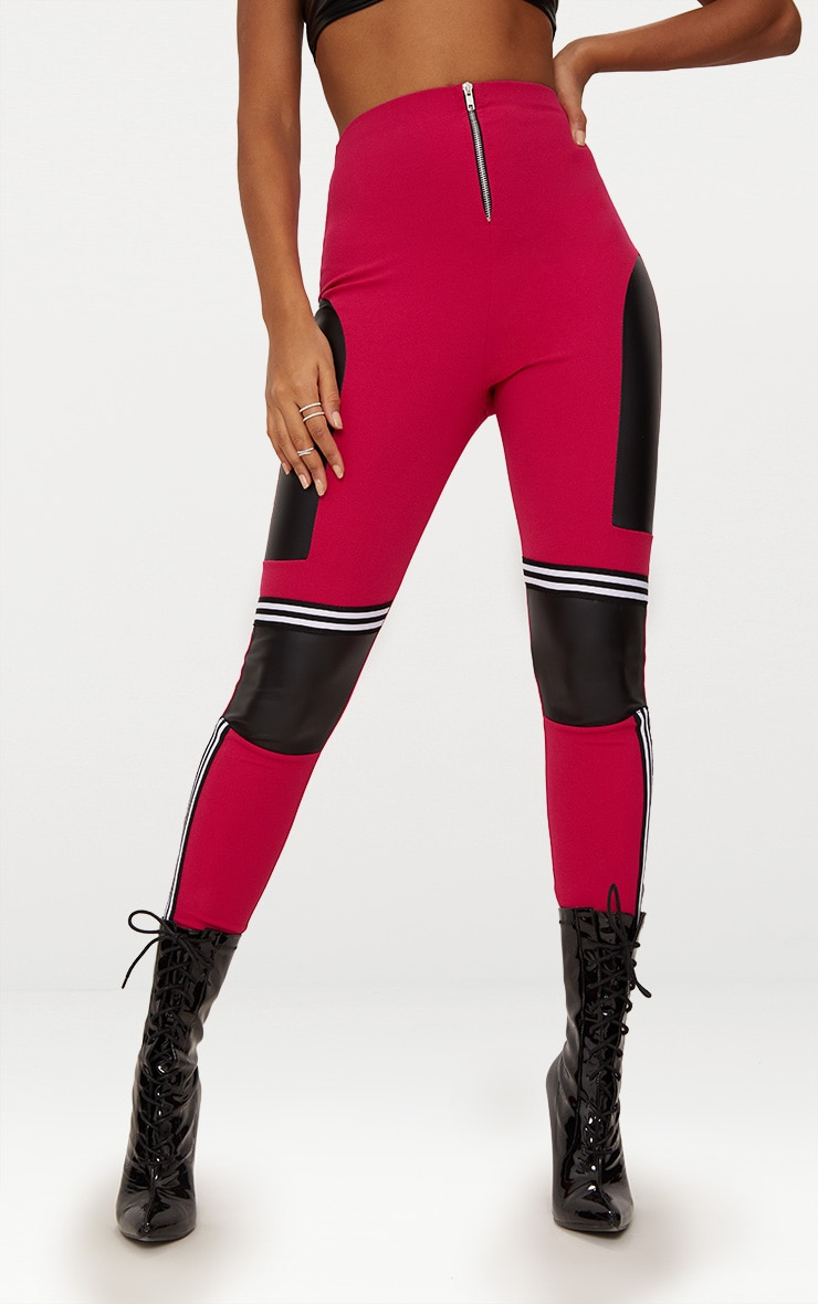 Fuchsia Motocross Panelled Trousers 2