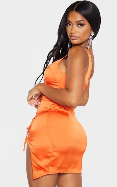 Shape Orange One Shoulder Lace Up Detail Dress