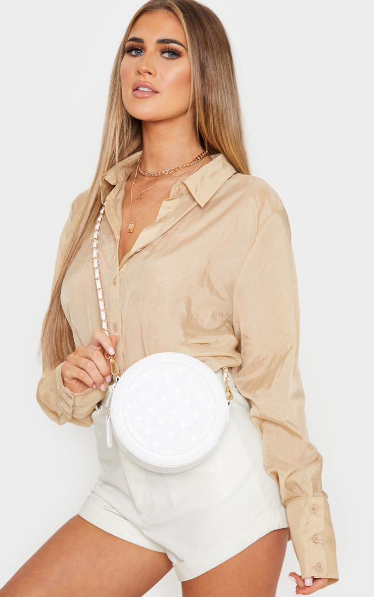 White Quilted PU Circle Cross Body Bag 1