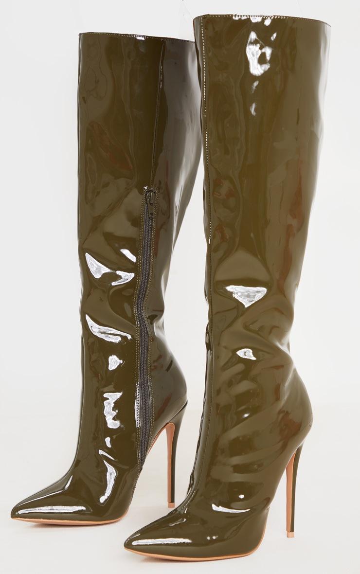 Khaki Point Toe Stiletto Knee High Boot 3
