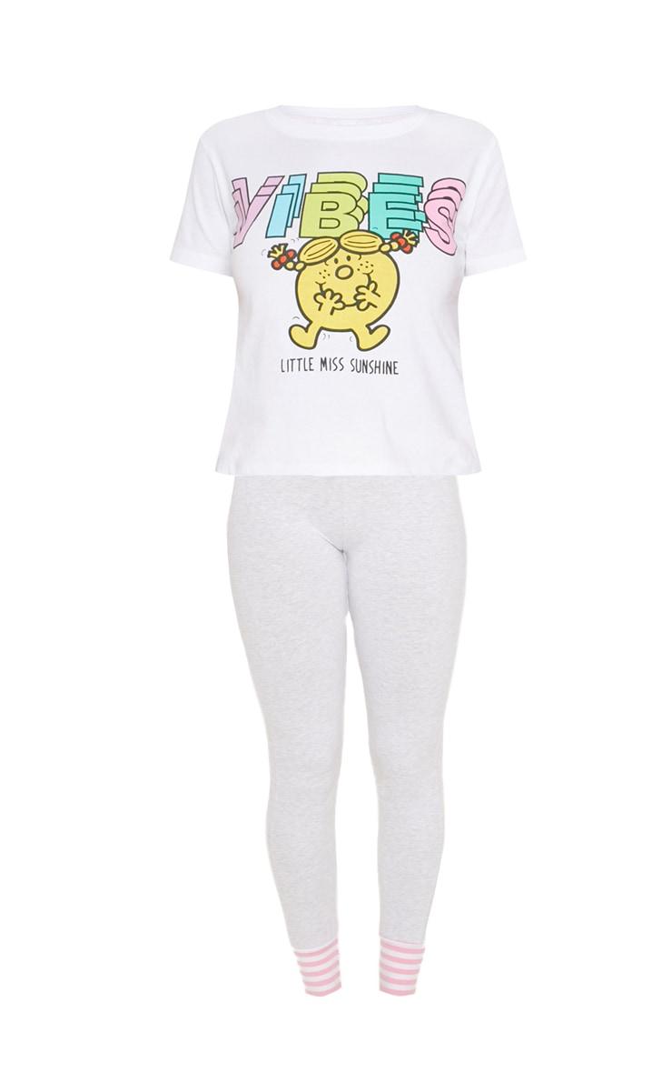 White Little Miss Sunshine Good Vibes Legging PJ Set  3