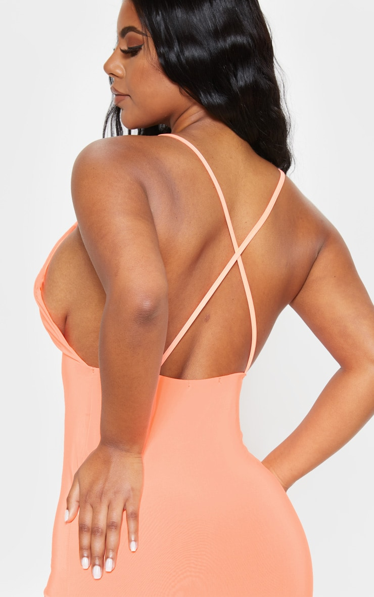 Neon Peach Strappy Slinky Cross Back Midi Dress 5