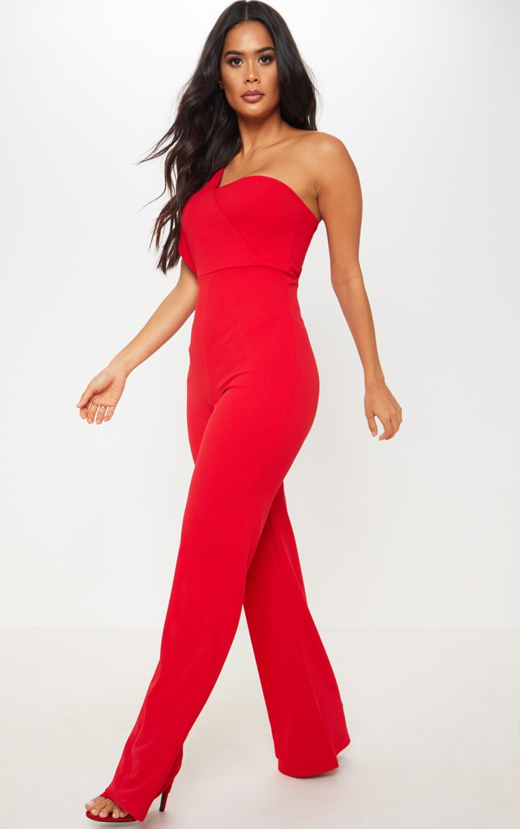 Red Drape One Shoulder Jumpsuit 4