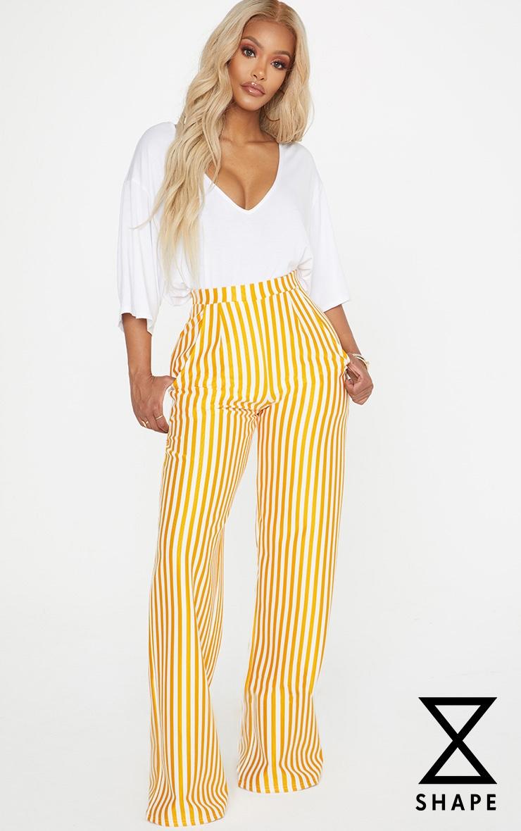 Shape Mustard Striped Wide Leg Trousers 1