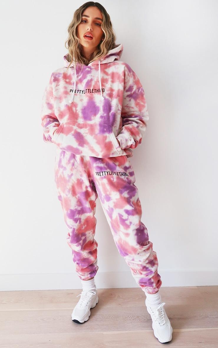 PRETTYLITTLETHING Pink Oversized Tie Dye Hoodie 3