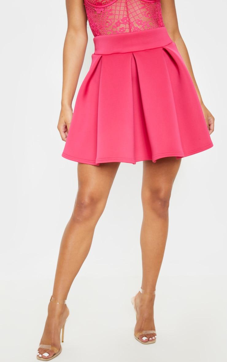 Hot Pink Scuba Skater Mini Skirt 2