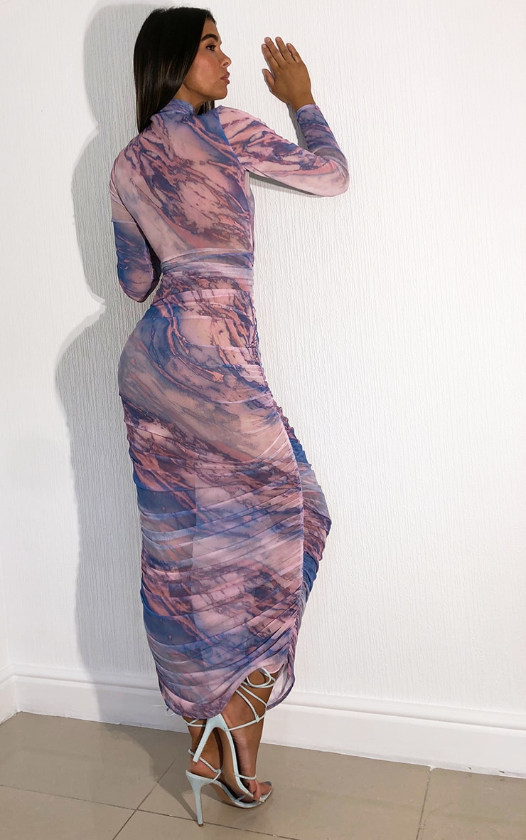 Multi Tie Dye Mesh High Neck Long Sleeve Ruched Midaxi Dress 2