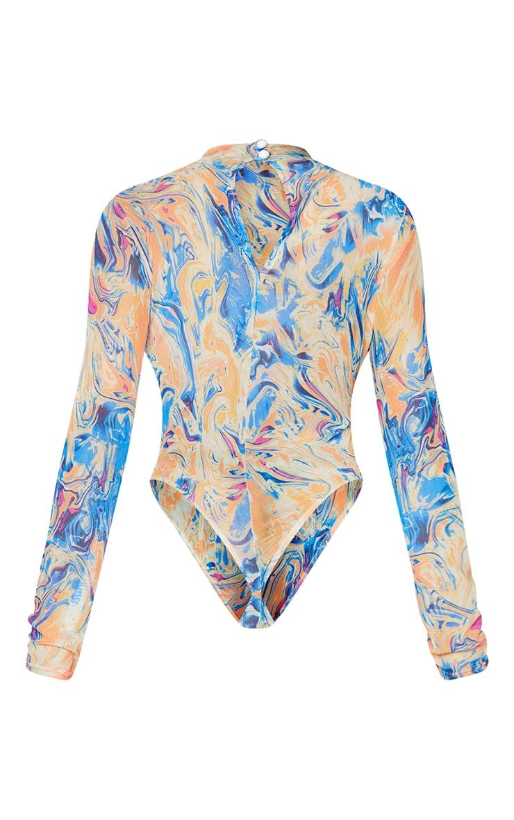 Blue Abstract Print Mesh High Neck Bodysuit 6
