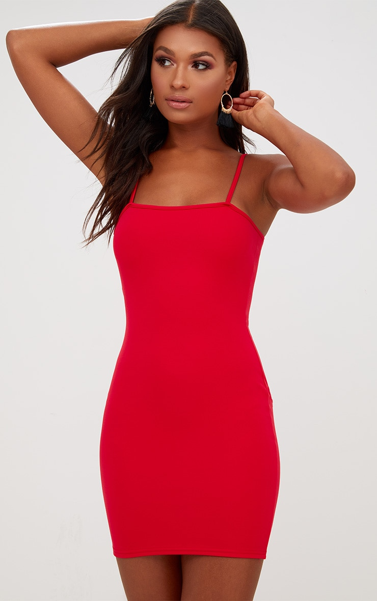 Red Straight Neck Bodycon Dress 1