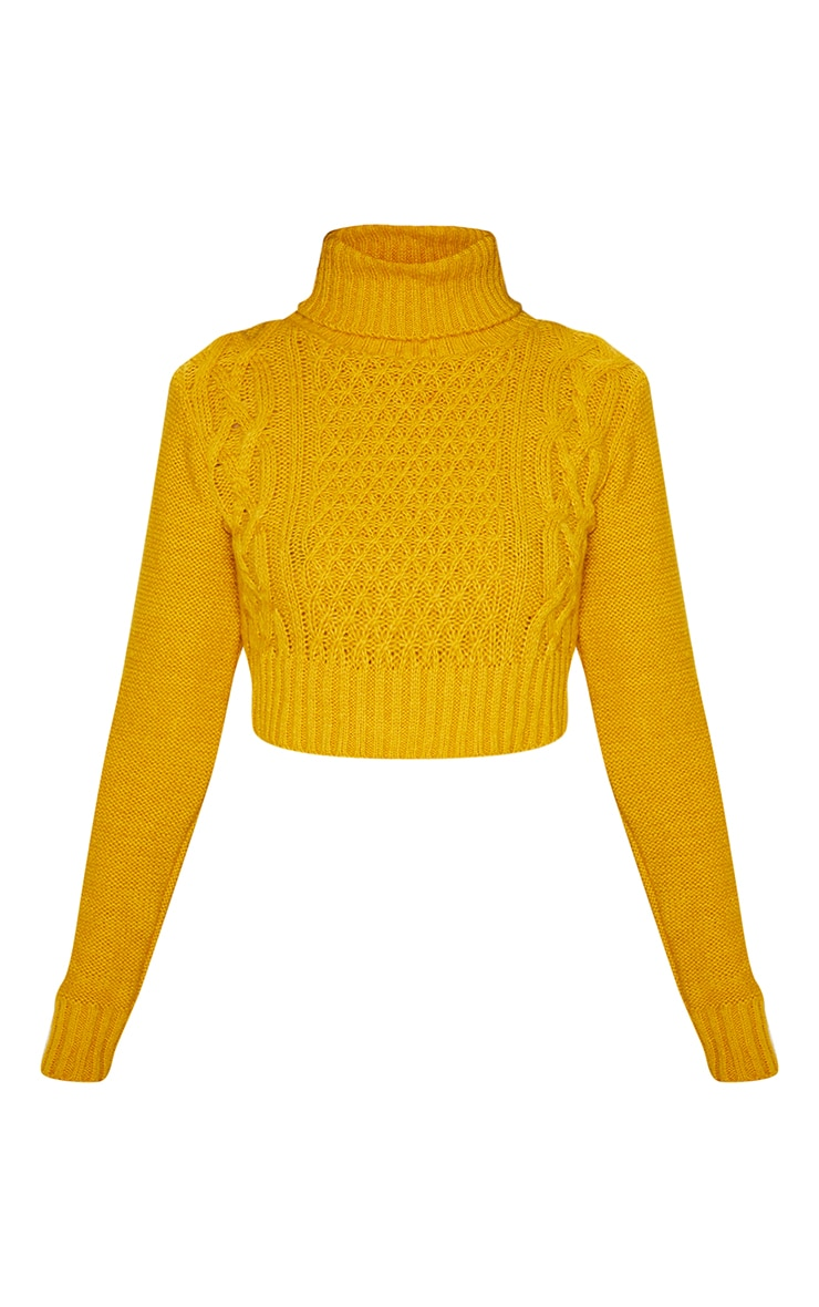Mustard Roll Neck Fluffy Crop Cable Knit Jumper 3