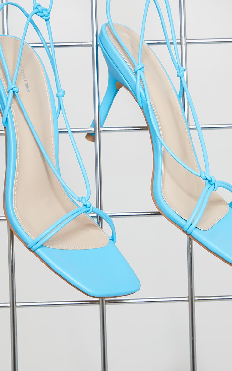 Blue Knot Detail Ankle Lace Up Heels 4
