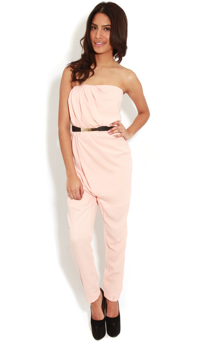 Ellie Peach Strapless Jumpsuit With Belt  1