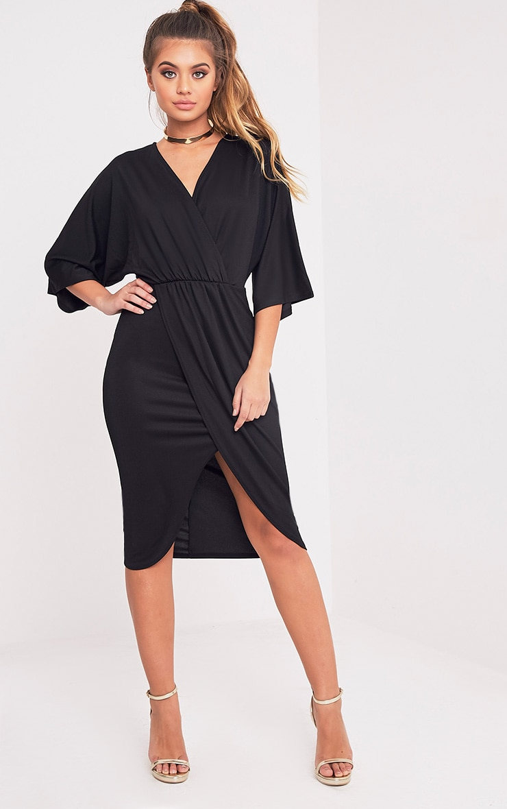 Archer Black Cape Midi Dress 1