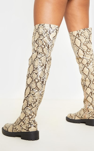 Snake Cleated Flat Over The Knee Boot