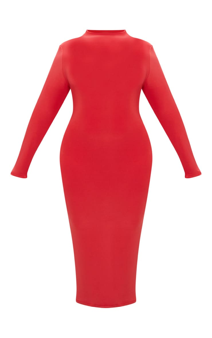Plus Red Double Layered Slinky High Neck Midaxi Dress 3