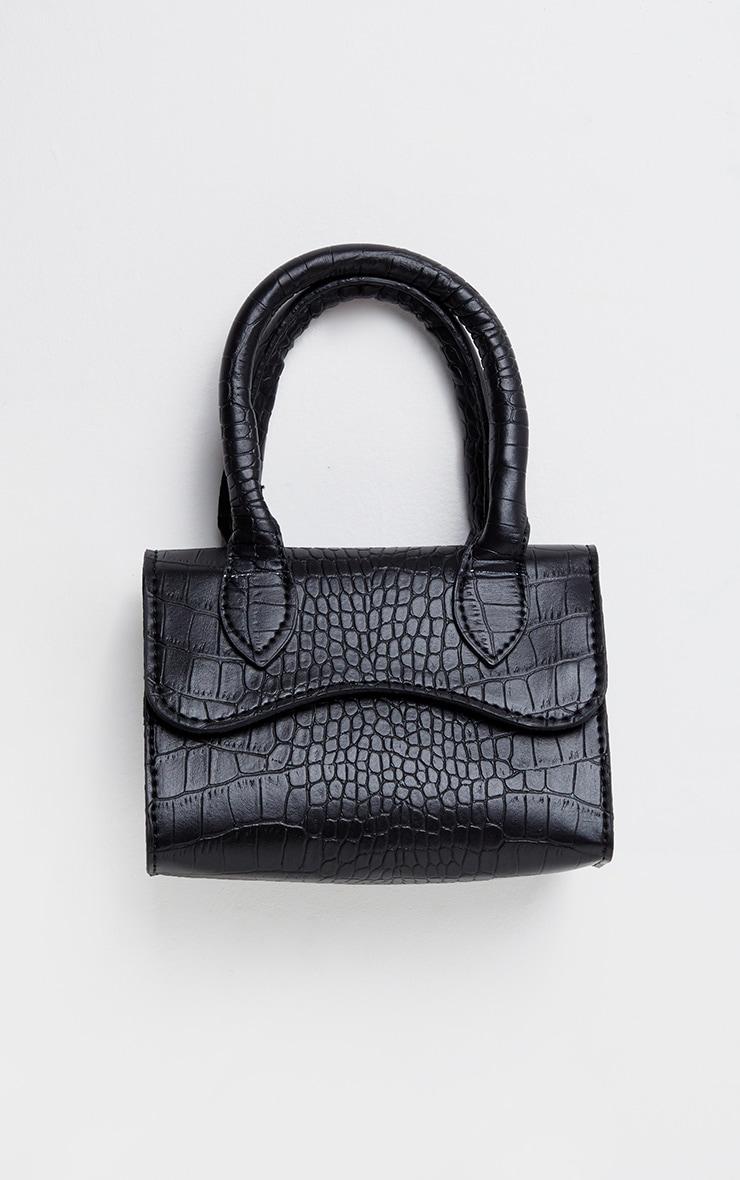 Black Croc PU Mini Cross Body Bag 1