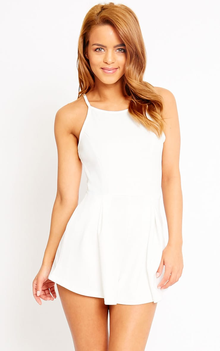 Alaula Cream Pleat Front Playsuit 1