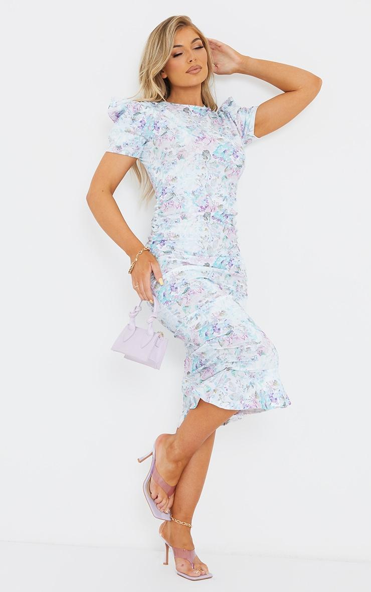 Multi Floral Print Puff Sleeve Ruched Frill Hem Midi Dress 3
