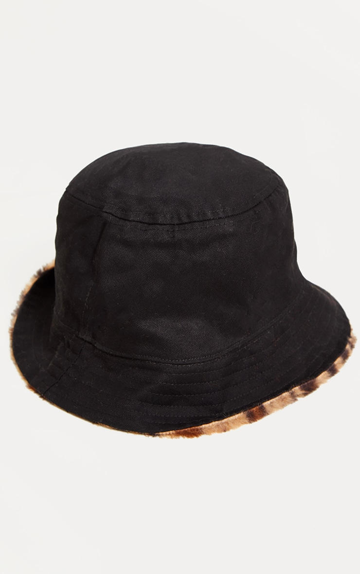 Leopard Faux Fur Reversible Bucket Hat 3