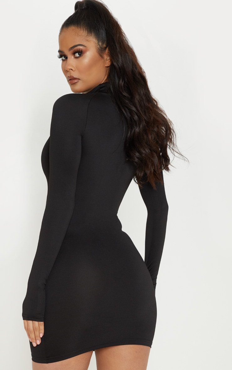 Black Slinky Long Sleeve Zip Up Bodycon Dress 2